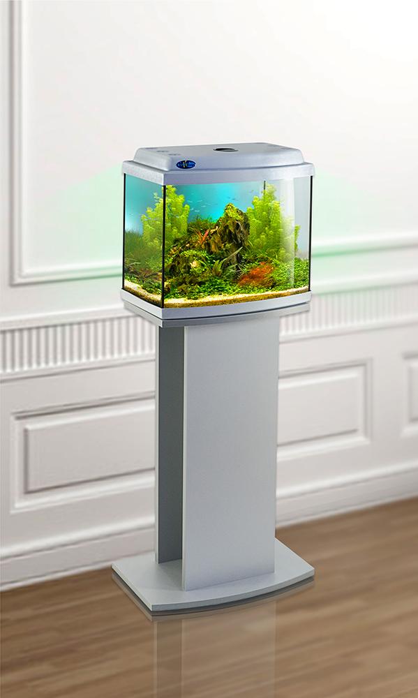 Комплект аквариум+тумба КЛАССИК 30R (серебро) 27 л лампа 1*6W в комплекте