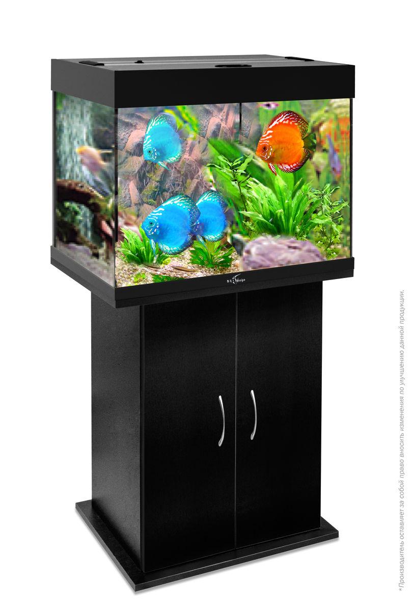 Комплект аквариум+тумба РИФ 100 лампы 2*15W в комплекте (чёрный) 100л