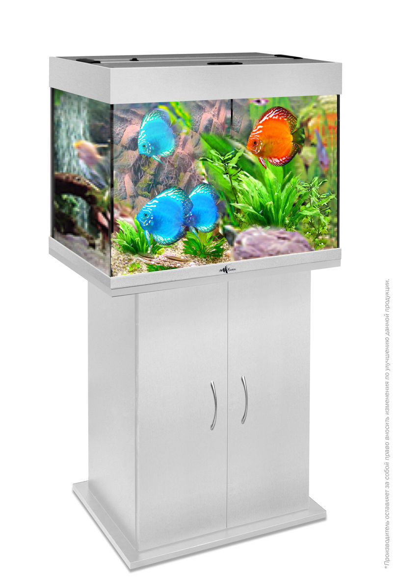 Комплект аквариум+тумба РИФ 100 лампы 2*15W в комплекте (серебро) 100л