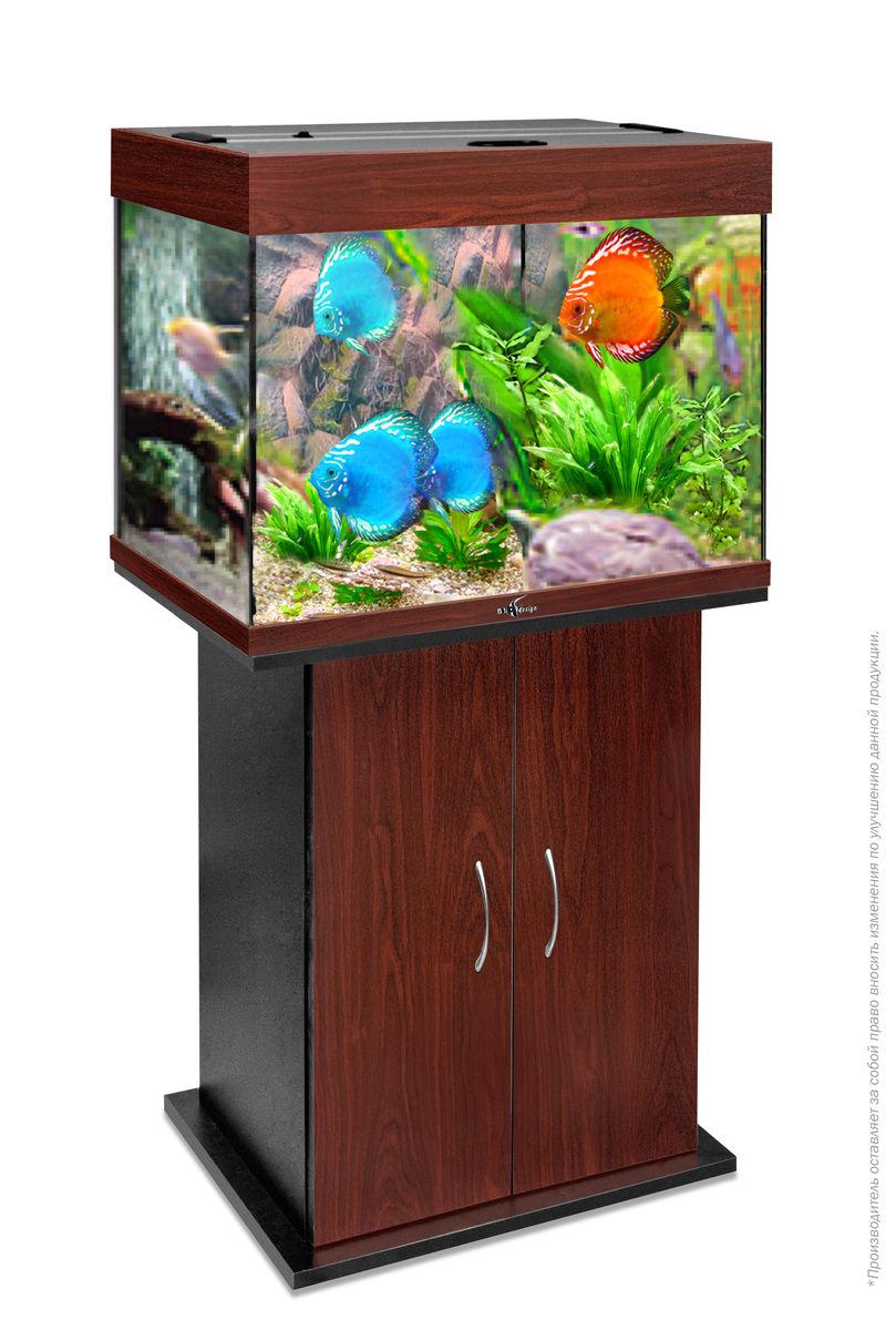 Комплект аквариум+тумба РИФ 100 лампы 2*15W в комплекте (тёмная вишня) 100л