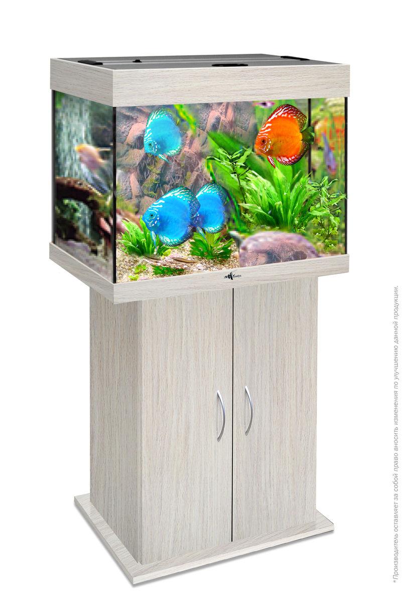 Комплект аквариум+тумба РИФ 100 лампы 2*15W в комплекте (белёный дуб) 100л
