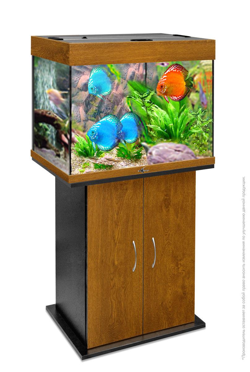 Комплект аквариум+тумба РИФ 100 лампы 2*15W в комплекте (золотой дуб) 100л