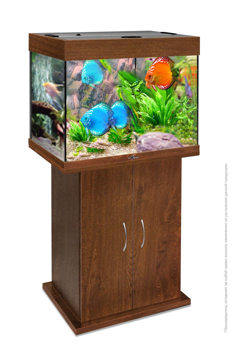 Комплект аквариум+тумба РИФ 100 лампы 2*15W в комплекте (золотой орех) 100л