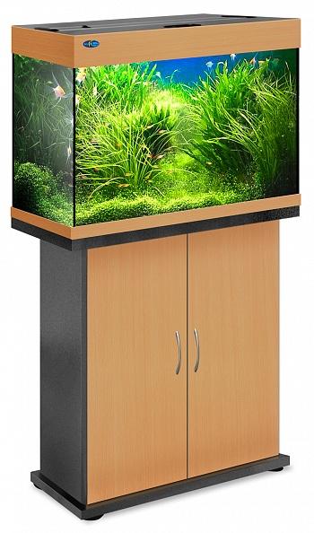 Комплект аквариум+тумба РИФ 110 лампы 2*24W в комплекте (бук) 104л