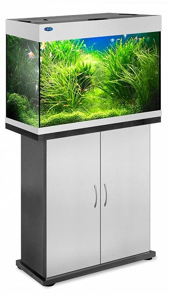 Комплект аквариум+тумба РИФ 110 лампы 2*24W в комплекте (серебро) 104л