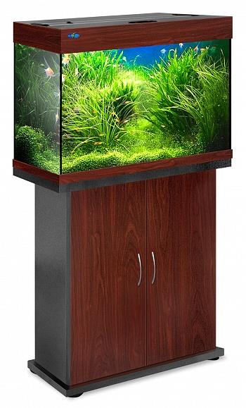 Комплект аквариум+тумба РИФ 110 лампы 2*24W в комплекте (тёмная вишня) 104л