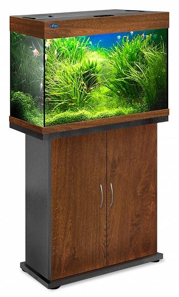 Комплект аквариум+тумба РИФ 110 лампы 2*24W в комплекте (золотой орех) 104л
