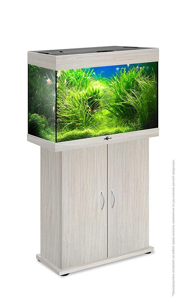 Комплект аквариум+тумба РИФ 110 лампы 2*24W в комплекте (белёный дуб) 104л