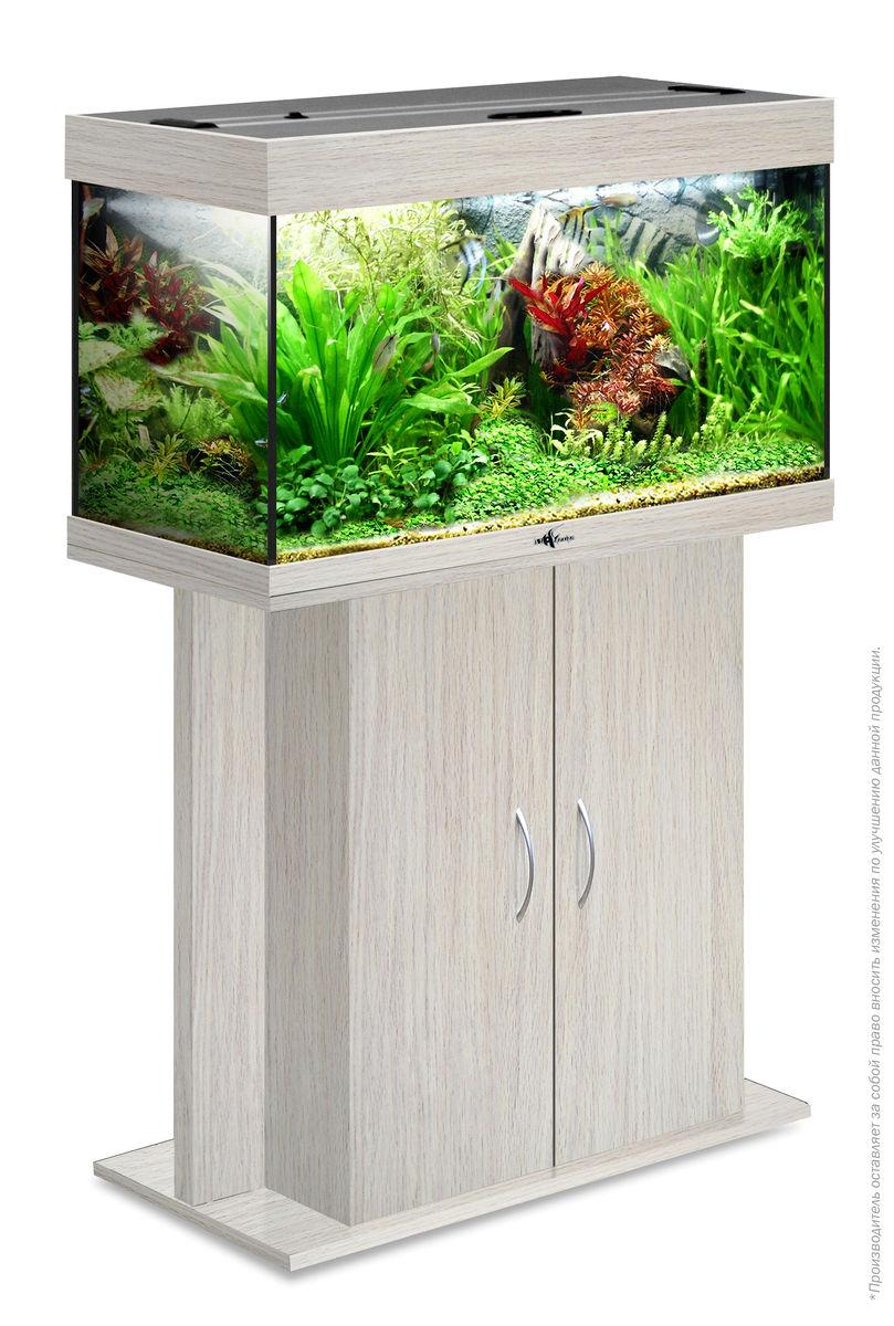 Комплект аквариум+тумба РИФ 125 лампы 2*24W в комплекте (белёный дуб) 125л