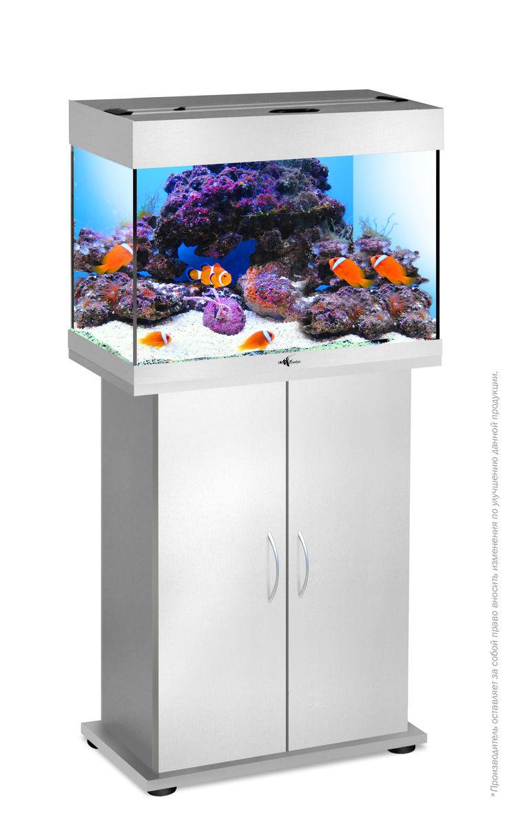 Комплект аквариум+тумба РИФ 60 лампы 2*15W в комплекте (серебро) 60л