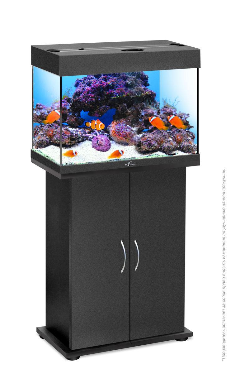 Комплект аквариум+тумба РИФ 60 лампы 2*15W в комплекте (чёрный) 60л