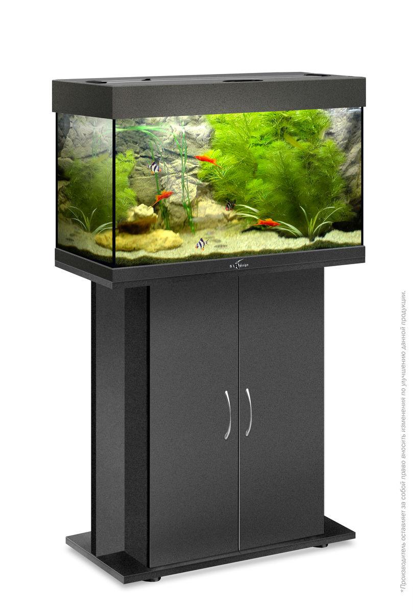 Комплект аквариум+тумба РИФ 80 лампы 2*18W в комплекте (чёрный) 82л