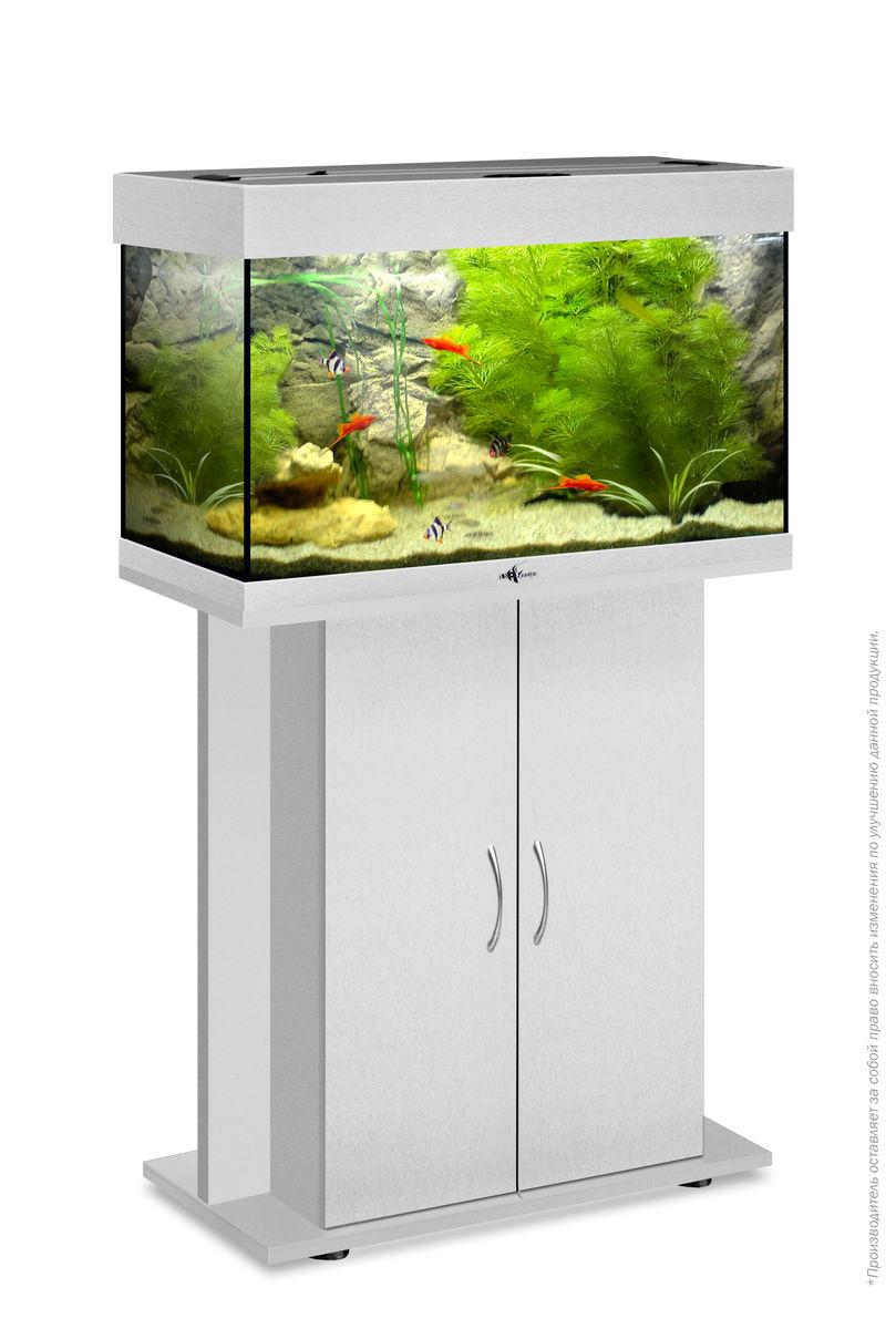 Комплект аквариум+тумба РИФ 80 лампы 2*18W в комплекте (серебро) 82л