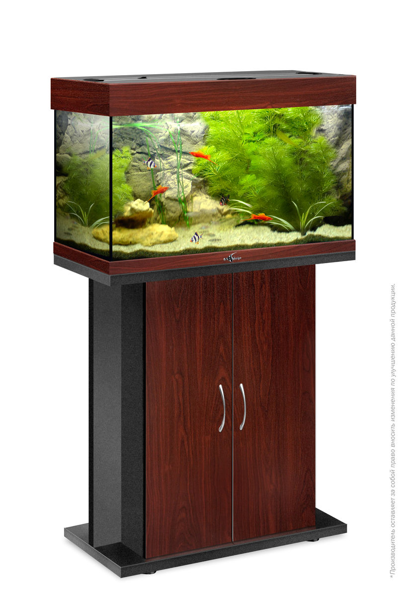 Комплект аквариум+тумба РИФ 80 лампы 2*18W в комплекте (тёмная вишня) 82л