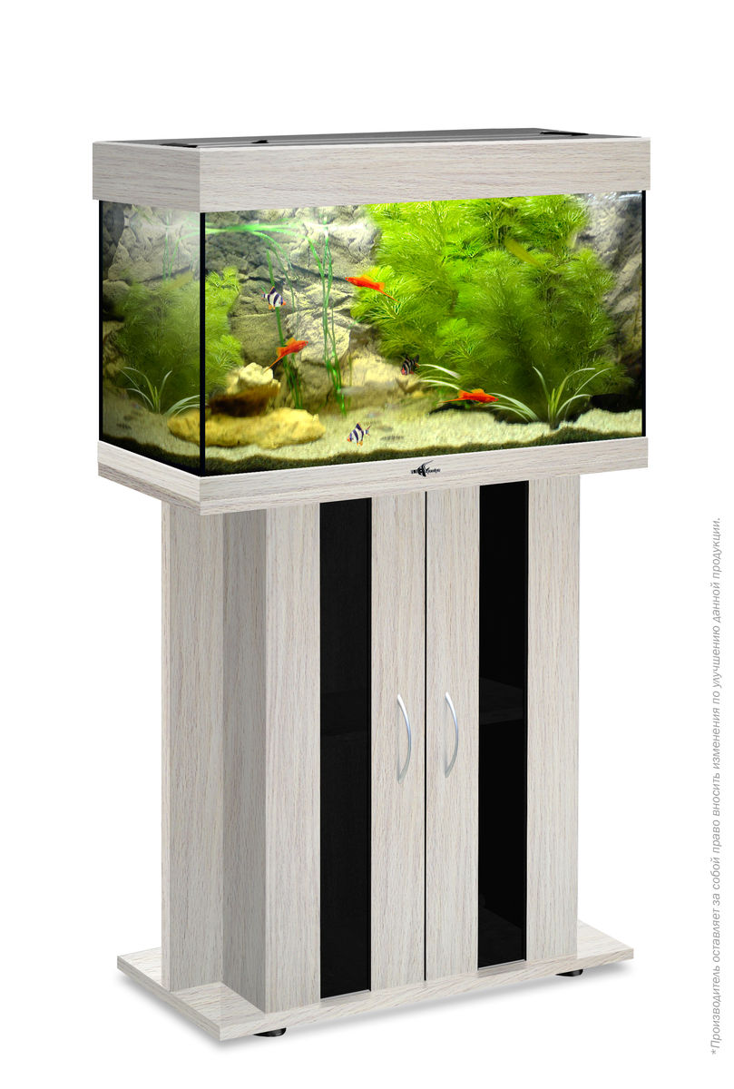 Комплект аквариум+тумба РИФ 80 лампы 2*18W в комплекте (белёный дуб) 82л