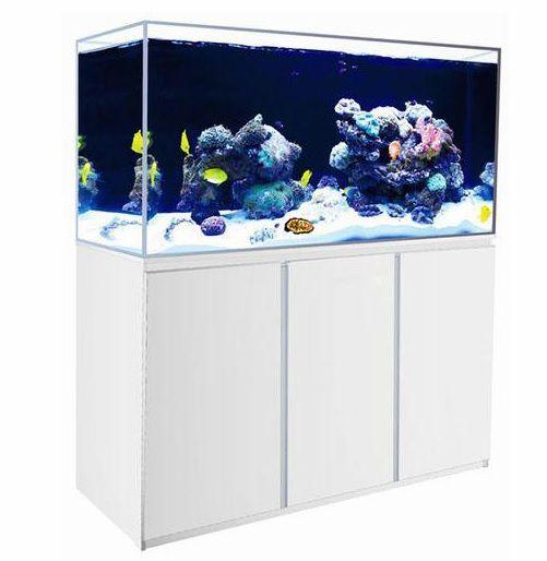 Аквариум морской 380 л с LED подсветкой, оборудованием и подставкой (белый) BY-HA-1500