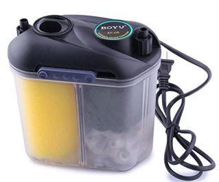 Внешний канистровый биологический мини-фильтр с наполнителями BY-EF-05, 5,5W (150л/ч, h=0,5м, керамич.вал, акв. до 50л )