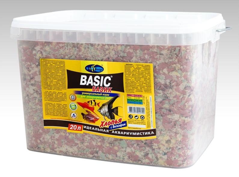 БАЗИК хлопья (flake) универсальный корм для всех видов рыб (ВЕДРО 20 литров) 911205