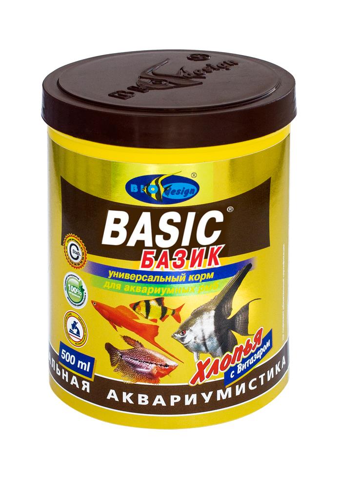 БАЗИК хлопья (flake) универсальный корм для всех видов рыб (банка 500 мл) 911003
