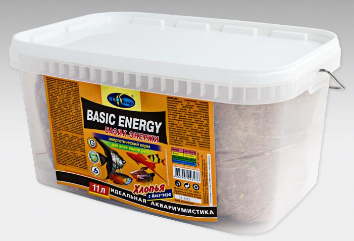 БАЗИК ЭНЕРЖИ хлопья (flake) энергетический витаминизированный высокопротеиновый корм для всех видов рыб (ВЕДРО 11 литров) 911314