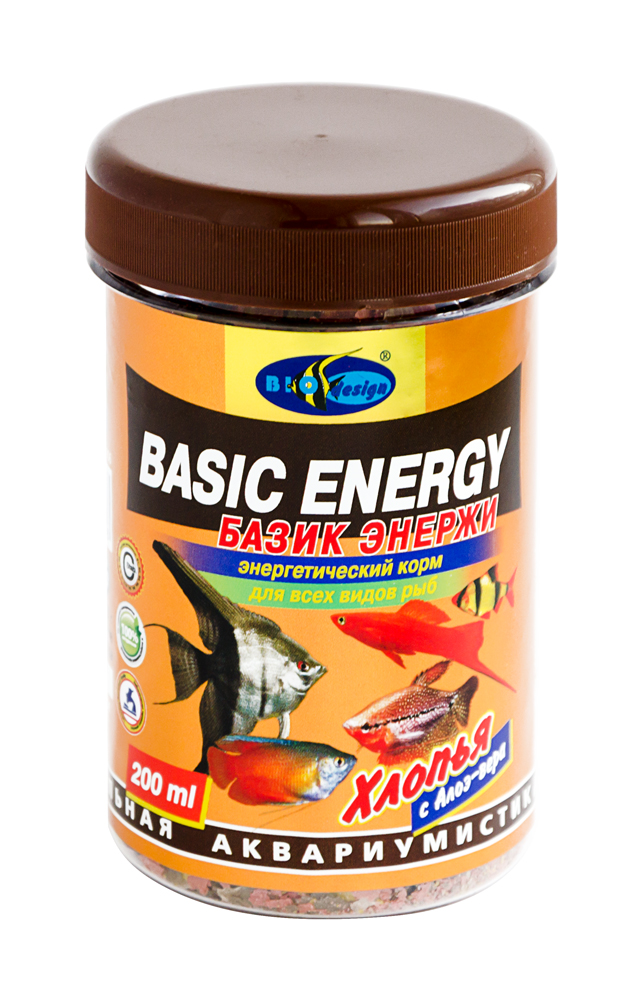 БАЗИК ЭНЕРЖИ хлопья (flake) энергетический витаминизированный высокопротеиновый корм для всех видов рыб (банка 250 мл) 911387