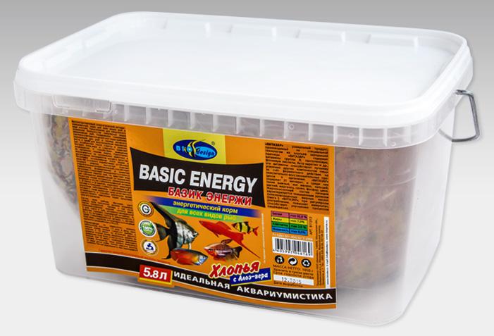 БАЗИК ЭНЕРЖИ хлопья (flake) энергетический витаминизированный высокопротеиновый корм для всех видов рыб (ВЕДРО 5,8 литров) 911313