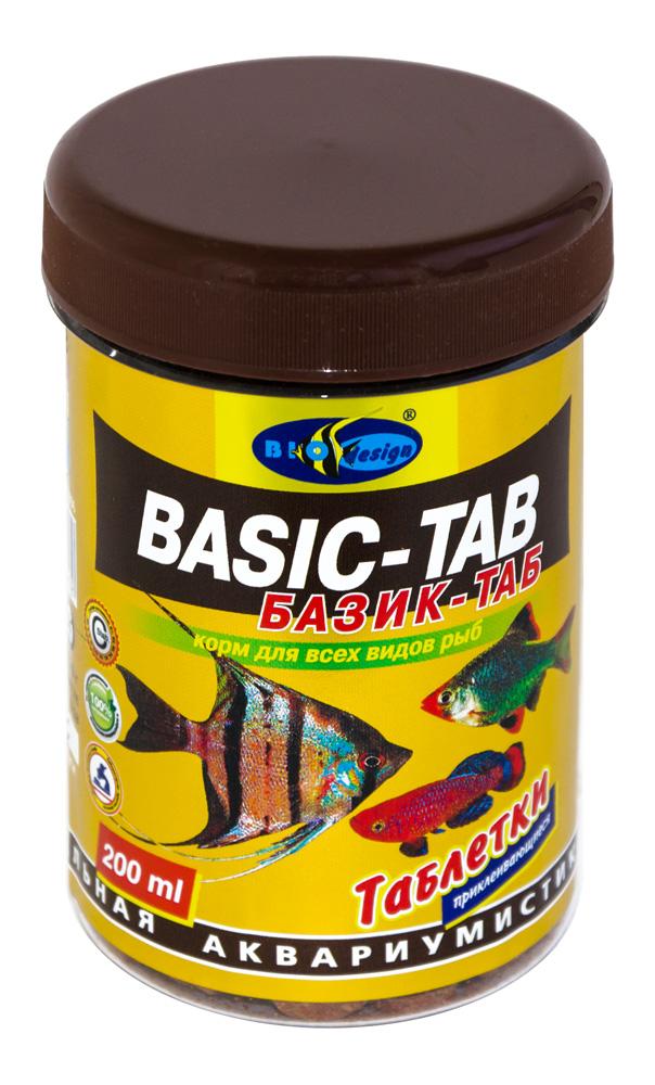БАЗИК-ТАБ таблетированный (d=12мм) корм для всех видов рыб (банка 200 мл) 911013