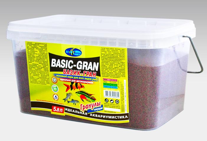 БАЗИК-ГРАН тонущие гранулы 2 вида основной корм для всех видов рыб (ВЕДРО 5,8 литров) 911257