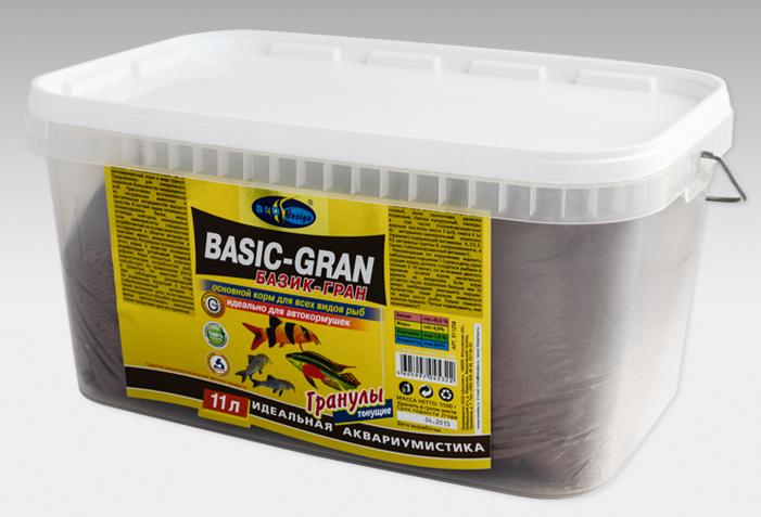 БАЗИК-ГРАН тонущие гранулы 2 вида основной корм для всех видов рыб (ВЕДРО 11 литров) 911258