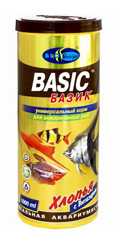 БАЗИК хлопья (flake) универсальный корм для всех видов рыб (банка 1000 мл) 911004