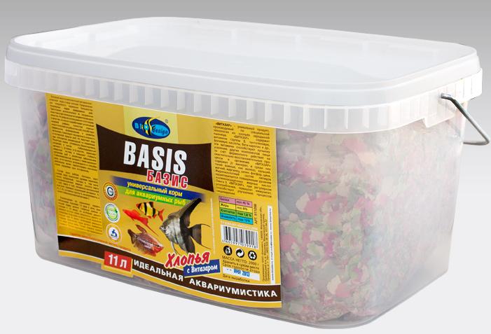 БАЗИК хлопья (flake) универсальный корм для всех видов рыб (ВЕДРО 11 литров) 911098