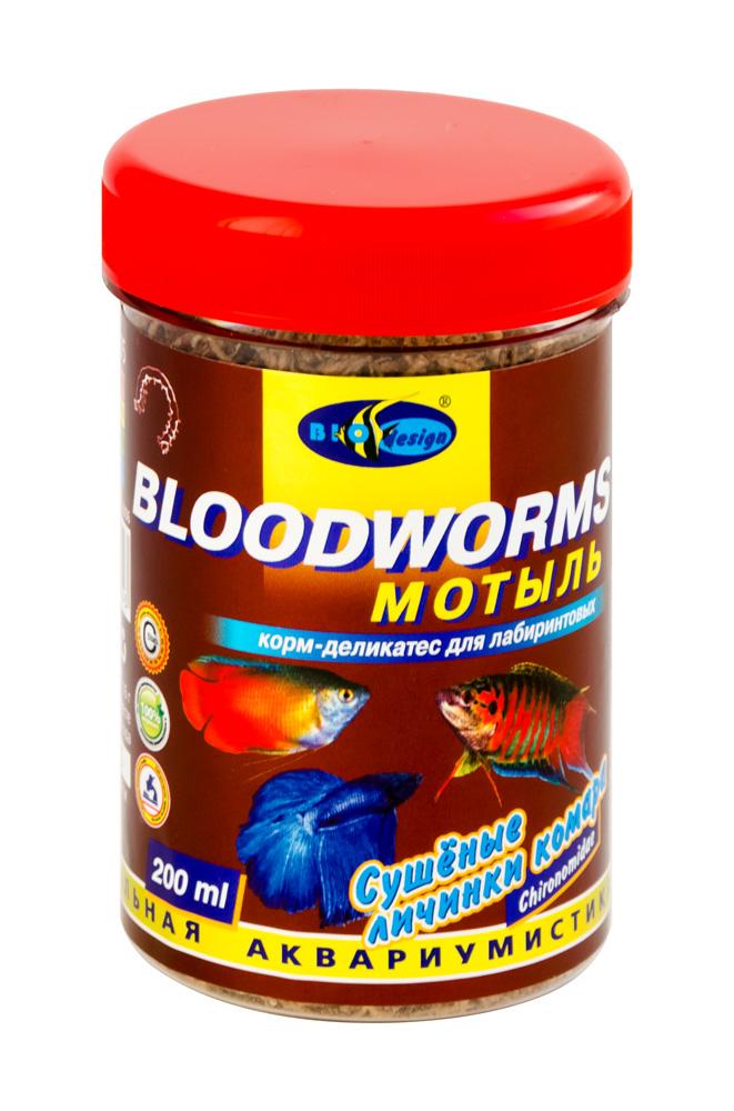 МОТЫЛЬ сушеные личинки комара (Chironomidae) корм-деликатес для всех видов рыб (банка 200 мл) 911905