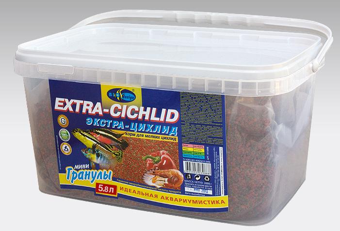 ЭКСТРА ЦИХЛИД тонущие гранулы 2 вида основной корм для мелких хищников и цихлид (ВЕДРО 5,8 литров) 911110