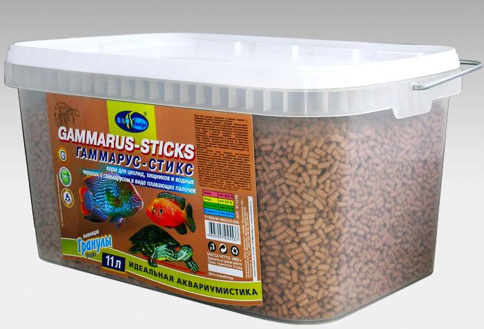 ГАММАРУС-СТИКС плавающие палочки (sticks) корм для цихлид, хищников, водных черепах с гаммарусом (ВЕДРО 11 литров) 911279