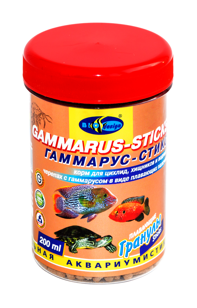 ГАММАРУС-СТИКС плавающие палочки (sticks) корм для цихлид, хищников, водных черепах с гаммарусом (банка 250 мл) 911402