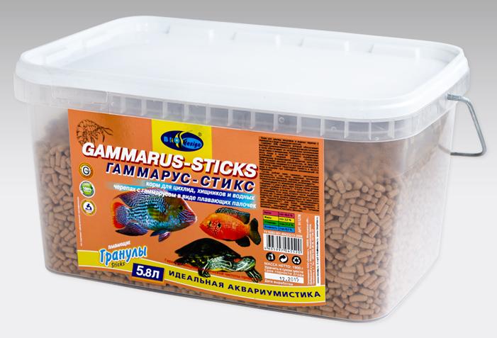 ГАММАРУС-СТИКС плавающие палочки (sticks) корм для цихлид, хищников, водных черепах с гаммарусом (ВЕДРО 5,8 литров) 911278