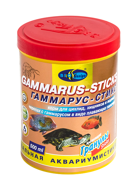 ГАММАРУС-СТИКС плавающие палочки (sticks) корм для цихлид, хищников, водных черепах с гаммарусом (банка 500 мл) 911276