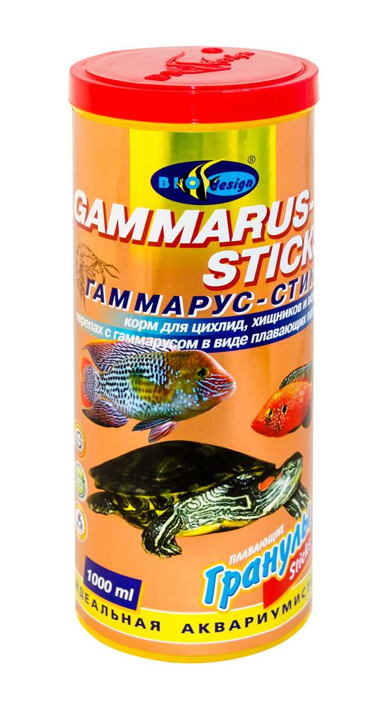 ГАММАРУС-СТИКС плавающие палочки (sticks) корм для цихлид, хищников, водных черепах с гаммарусом (банка 1000 мл) 911277