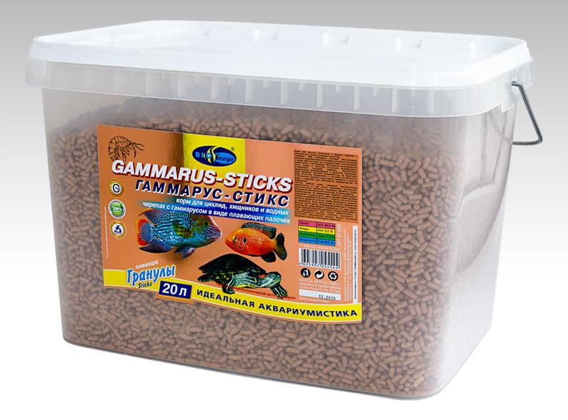 ГАММАРУС-СТИКС плавающие палочки (sticks) корм для цихлид, хищников, водных черепах с гаммарусом (ВЕДРО 20 литров) 911280