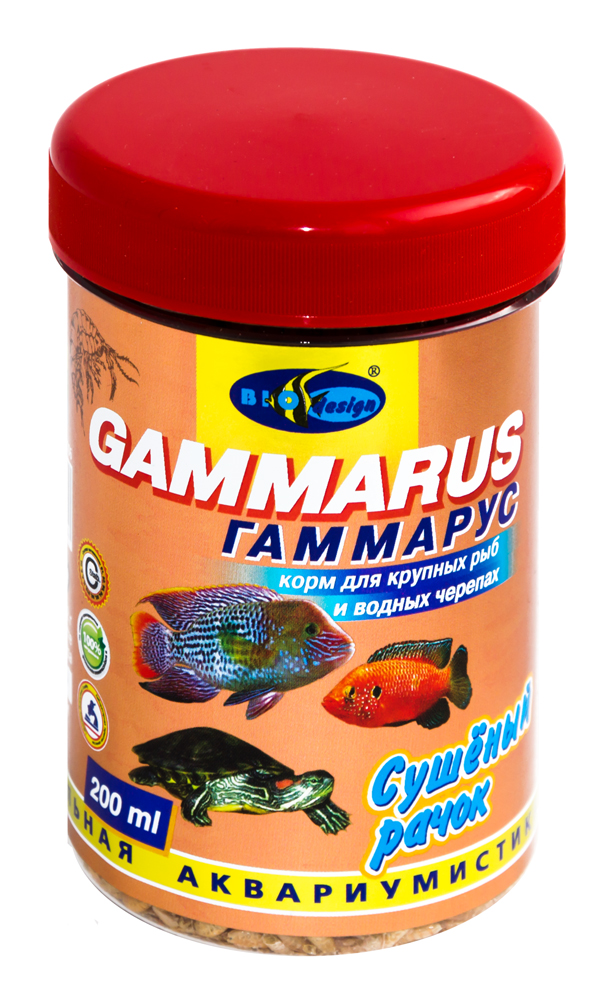 ГАММАРУС сушеный рачек (Gammarus pulex) корм для крупных рыб и водных черепах (банка 250 мл) 911415