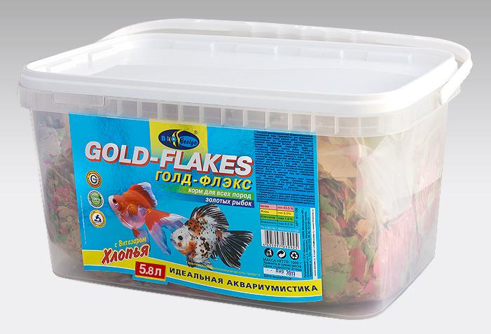 ГОЛД-ФЛЭКС хлопья (flake) корм для золотых рыб (ВЕДРО 5,8 литров) 911108