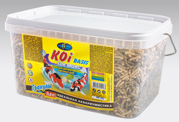 КОИ-БАЗИК плавающие палочки (sticks) 2 вида корм для декоративных карповых рыб (ВЕДРО 5,8 литров) 911120