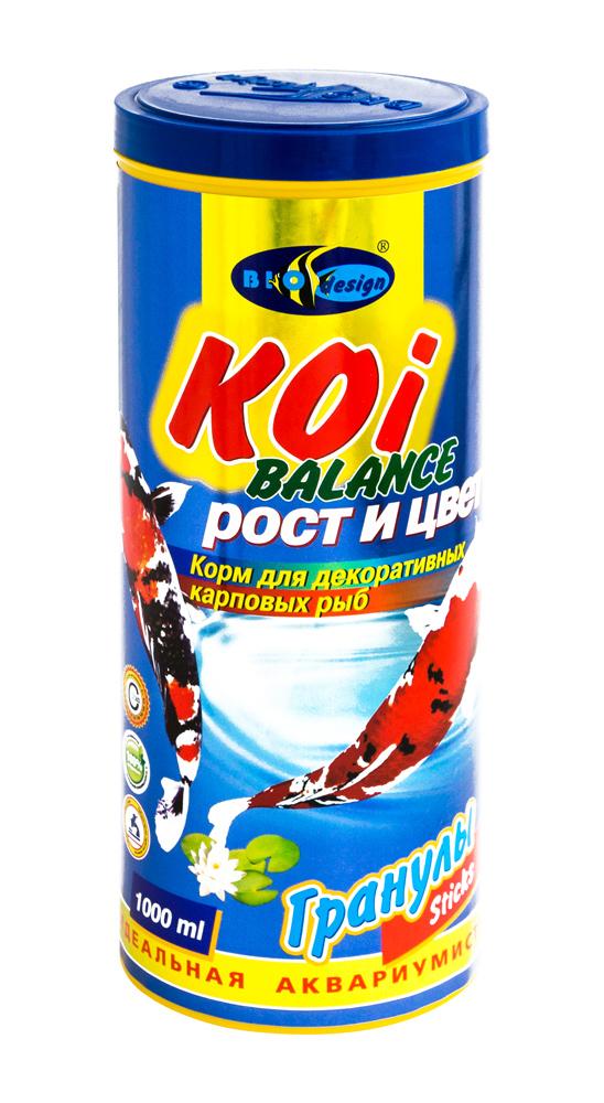 КОИ БАЛАНС рост и цвет плавающие палочки (sticks) 2 вида корм для декоративных карповых рыб (банка 1000 мл) 911370