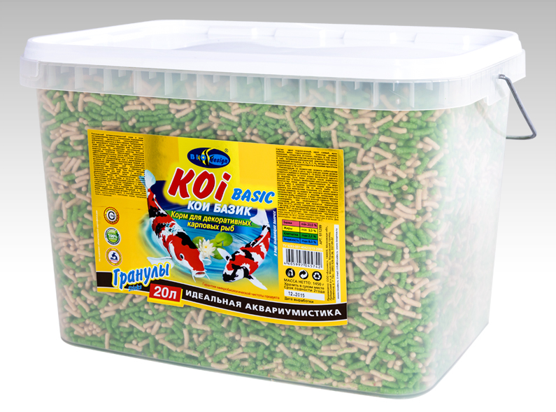 КОИ-БАЗИК плавающие палочки (sticks) 2 вида корм для декоративных карповых рыб (ВЕДРО 20 литров) 911299