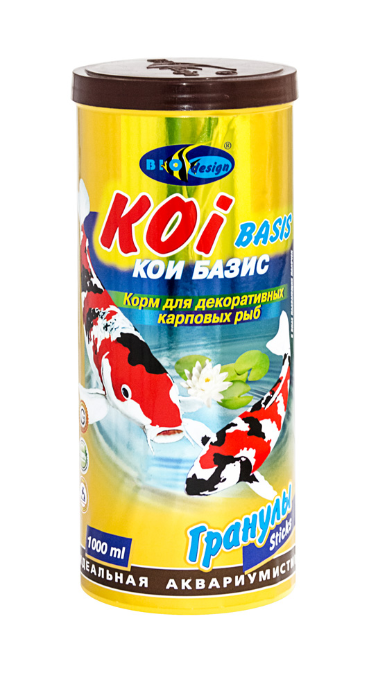 КОИ-БАЗИК плавающие палочки (sticks) 2 вида корм для декоративных карповых рыб (банка 1000 мл) 911119