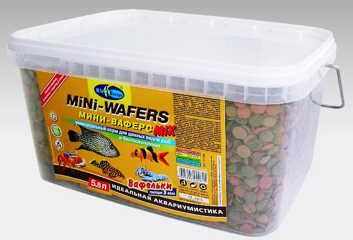 МИНИ ВАФЕРС МИКС мини вафельки 12 мм (mini wafers) 3 вида тонущий основной корм для всех видов донных рыб (ВЕДРО 5,8 литров) 911180