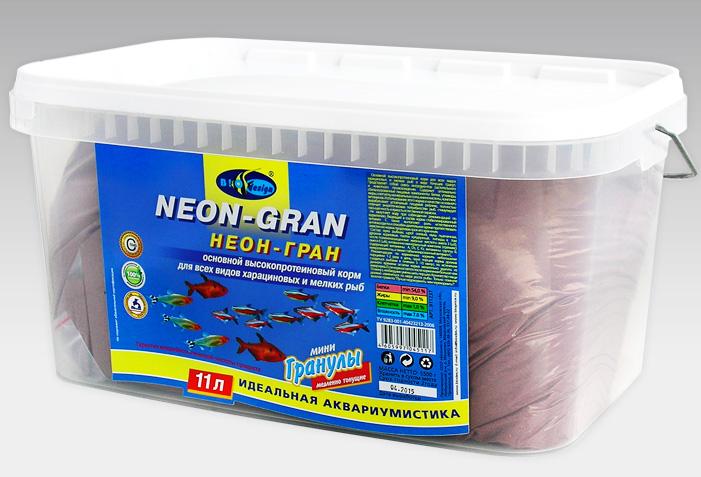 НЕОН-ГРАН тонущие мини гранулы основной высокопротеиновый (54%) корм для всех видов харациновых мелких рыб (ВЕДРО 11 литров) 911237