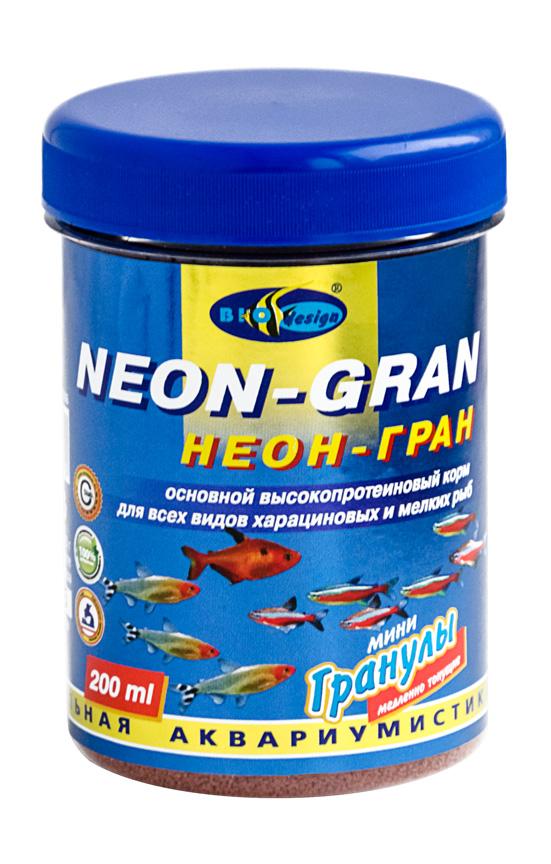 НЕОН-ГРАН тонущие мини гранулы основной высокопротеиновый (54%) корм для всех видов харациновых мелких рыб (банка 250 мл) 911385