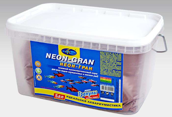 НЕОН-ГРАН тонущие мини гранулы основной высокопротеиновый (54%) корм для всех видов харациновых мелких рыб (ВЕДРО 5,8 литров) 911236