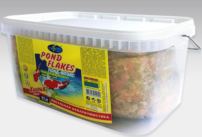 ПОНД-ФЛЭКС хлопья (flake) основной универсальный корм для прудовых видов рыб (ВЕДРО 11 литров) 911221